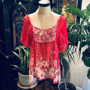 Urban Outfitters chiffon floral peasant kimono top